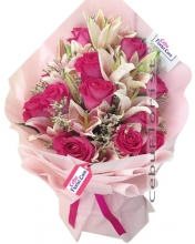 12 Pink Roses with lilies in Bouquet