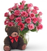 24 Pink Rose Vase with Bear