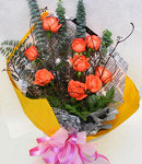 12 Orange Roses in Bouquet