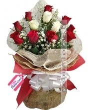 9 Red & 3 White Roses in Bouquet
