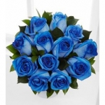 Dozen blue roses w/ greeneries in a bouquet