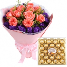 12 Light Pink Roses Bouquet w/ 24  pcs Box Ferrero Chocolate