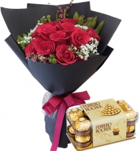 12 red roses Bouquet w/16 pcs Ferrero Chocolate