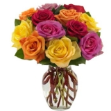 12 long-stemmed Mixed-colored roses