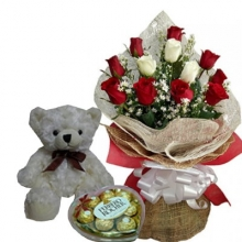 12 Red & White Rose Bouquet w/ Bear Ferrero Chocolate