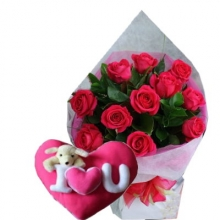 12 Pink Rose Bouquet with Heart Shaped Pillow