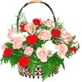 36 Mixed red, white & peach roses in basket