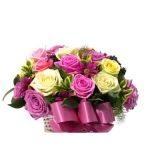 12 Fresh Mixed Roses in Basket