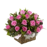 Pink Roses in Flower Basket