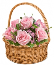 Abundant Happiness 6 Pink Roses in Basket