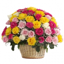 Romantic Love Of 50 Mixed Rose in Basket