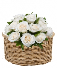 One Dozen White Roses in Basket