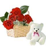 12 Red Rose Basket with a Small Teddy