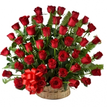 4 Dozen fresh red roses in basket