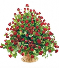 5 dozen fresh red roses in basket
