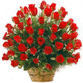 3 dozen fresh red roses in basket