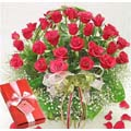 36 fresh red roses in basket