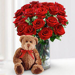 2 Dozen Red Roses w/ Bear For Valentines