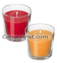 2 Pcs Red & Yellow Candles in a Glass