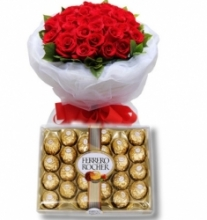 36 Red Rose with 24 pcs Ferrero