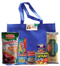 Groceries Spaghetti and Canned Goods Package with Blue Bag