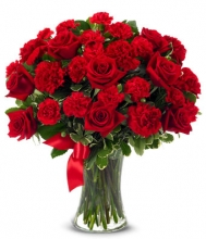 Christmas Red Rose and Red Carnations flower