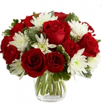 Deep Red Roses With white Chrysanthemums