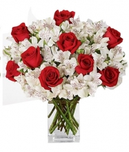 Christmas Red Roses with Peruvian Lilies