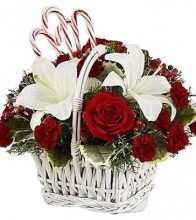 Christmas White Lilies and Red Roses