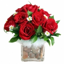 12 Pieces Red Roses in vase with Rocks