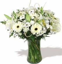 White Flowers Sympathy in a Vase