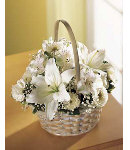 White Flower Sympathy w/ baby breath in Basket