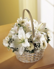 White Sympathy Flowers in Basket