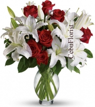 Christmas Red Rose with White Lilies