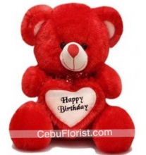 Red Teddy with Birthday Heart