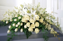 White Roses with White Lilies Sympathy