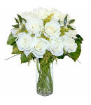 12 White Designer Long Stem Roses