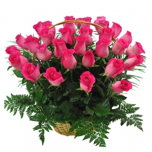 Lovely 24 Pink Roses In Basket