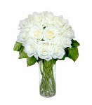 12 White Long Stem Roses in Vase
