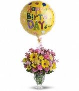 Happy Birthday Balloon with Flowers in FREE VASE