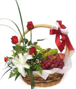 Grapes Basket w/ Flower Arrangement