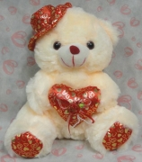 "12"" Cream Bear w/ Hat & Heart Pillow"