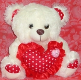 "12"" Cream Bear w/ Heart"
