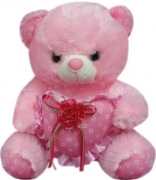 "12'"" Bear w/ Red Ribbon on a Heart Pillow"