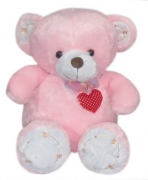 "20"" Pink Bear w/ Ribbon & Heart Embro"
