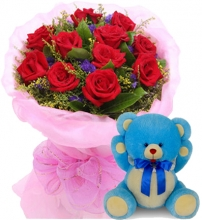 24 Red Roses with A Small Teddy Bear
