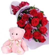 12 Red Roses with Hug Me Bear