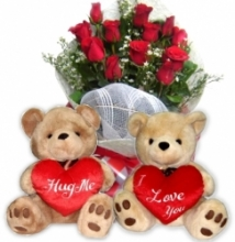 12 Red Rose Bouquet with 2 bear