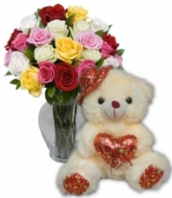 24 Mixed Roses with Love Bear