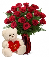 12 Red Roses with I Love U Bear